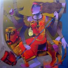 Dayanand Karmakar | Oil Painting title Mahishamardini on Canvas | Artist Dayanand Karmakar Gallery | ArtZolo.com