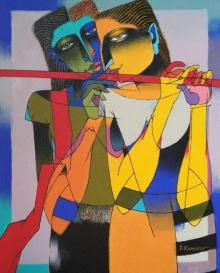 Dayanand Karmakar | Oil Painting title Playing Flute 1 on Canvas | Artist Dayanand Karmakar Gallery | ArtZolo.com