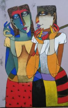 Dayanand Karmakar | Oil Painting title Violin Sellers on Canvas | Artist Dayanand Karmakar Gallery | ArtZolo.com