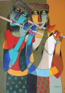 Dayanand Karmakar | Oil Painting title Playing Flute 2 on Canvas | Artist Dayanand Karmakar Gallery | ArtZolo.com