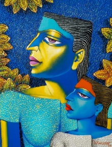 Dayanand Kamakar | Acrylic-oil Painting title Mother And Child 1 on Canvas | Artist Dayanand Kamakar Gallery | ArtZolo.com