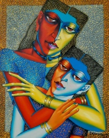 Mother And Child 2 | Painting by artist Dayanand Kamakar | acrylic-oil | Canvas