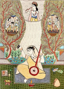 Religious Acrylic Art Painting title Meera Bai by artist Avinash Karn