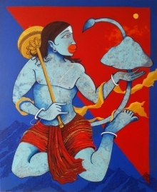 Prakash Pore | Acrylic Painting title Dronagiri 1 on Canvas | Artist Prakash Pore Gallery | ArtZolo.com