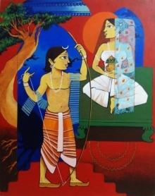 Prakash Pore | Acrylic Painting title Sita Swayamwar on Canvas | Artist Prakash Pore Gallery | ArtZolo.com