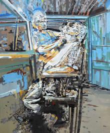 Figurative Acrylic Art Painting title Fregmented by artist Rajdeep Das