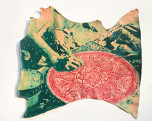 Mixed Media Painting titled 'Untitled 1' by artist Rajdeep Das on Leather
