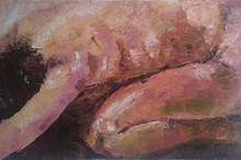 Nude Oil Art Painting title 'Figurescape 02' by artist Prasad Bhardwaja