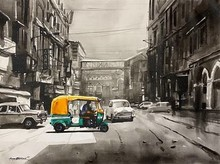 Cityscape Acrylic Art Painting title 'Old Calcutta Street' by artist Arpan Bhowmik