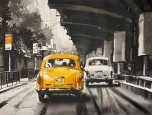 Cityscape Acrylic Art Painting title Ambassador (pride) of Calcutta by artist Arpan Bhowmik