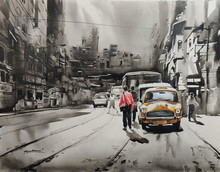 Cityscape Acrylic Art Painting title Old Calcutta Street 1 by artist Arpan Bhowmik