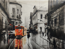 Cityscape Acrylic Art Painting title Tram In Calcutta Street 1 by artist Arpan Bhowmik
