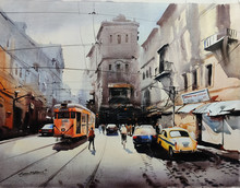 Cityscape Acrylic Art Painting title Tram In Calcutta Street 2 by artist Arpan Bhowmik