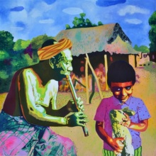 Song From The Heaven | Painting by artist Gayatri Artist | acrylic | Canvas