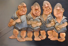 Ceramic Sculpture titled 'Co-operation' by artist Deveshh Upadhyay