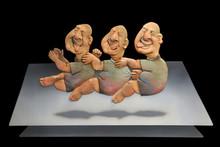 Ceramic Sculpture titled 'Silent Conversation' by artist Deveshh Upadhyay