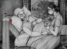Figurative Pencil Art Drawing title The Solitude - Breath by artist R Gopakumar