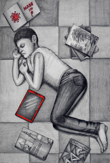 Figurative Pencil Art Drawing title The Solitude - Distance by artist R Gopakumar