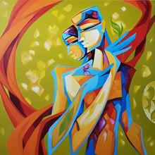 Figurative Acrylic Art Painting title Divine Bond by artist Laxmi Mysore
