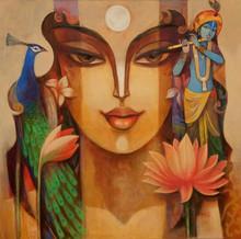 Religious Acrylic Art Painting title 'Radha Krishna 3' by artist Prabhakar Ahobilam