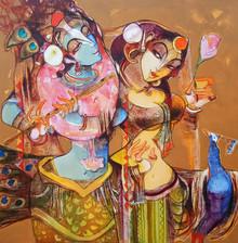 Religious Acrylic Art Painting title 'Radha Krishna Love Forever' by artist Prabhakar Ahobilam