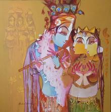 Religious Acrylic Art Painting title 'Radha Krishna With Flute' by artist Prabhakar Ahobilam