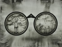 contemporary Ink Art Drawing title 'Hunting Binoculars 1' by artist Pravin Dhanuskar