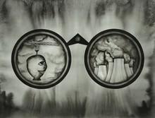 contemporary Ink Art Drawing title 'Hunting Binoculars 3' by artist Pravin Dhanuskar