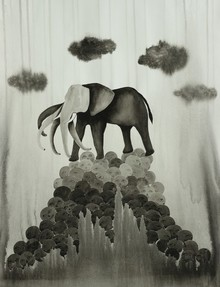 Animals Ink Art Drawing title 'Pachydermic Pressure 1' by artist Pravin Dhanuskar