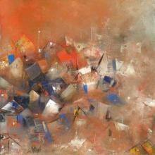 Abstract Acrylic Art Painting title 'Orange City Abstarct' by artist M Singh