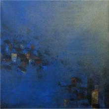 Abstract Acrylic Art Painting title Blues City by artist M Singh
