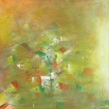 Abstract Acrylic Art Painting title Yellow City Abstract by artist M Singh