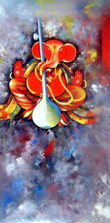 M Singh | Acrylic Painting title Ganesha Siddhidata on Canvas | Artist M Singh Gallery | ArtZolo.com