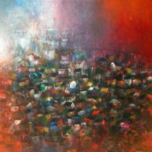 Abstract Acrylic Art Painting title Village Of My Dreams by artist M Singh