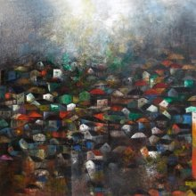 Abstract Acrylic Art Painting title The Villages by artist M Singh