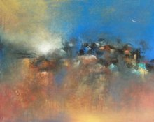 Abstract Acrylic Art Painting title Distance View by artist M Singh