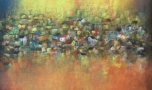 Abstract Acrylic Art Painting title 'Iridescent Homes' by artist M Singh