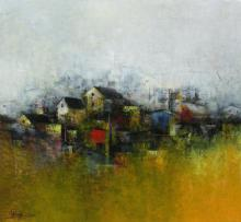 Abstract Acrylic Art Painting title ' The Village' by artist M. Singh