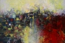 Abstract Acrylic Art Painting title 'Distant View Of A Village' by artist M Singh