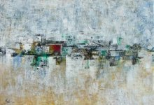 Abstract Acrylic Art Painting title Distant View by artist M Singh