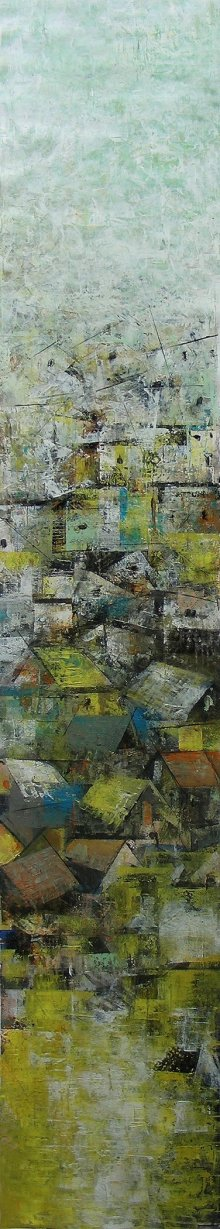 Abstract Acrylic Art Painting title A Glimpse Of Village by artist M Singh