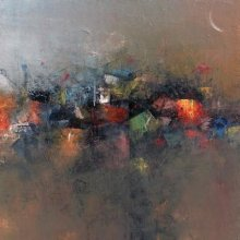 Abstract Acrylic Art Painting title Abstract City View by artist M Singh