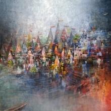 Cityscape Acrylic Art Painting title Banaras Ghat by artist M Singh