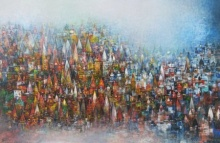 M Singh | Acrylic Painting title Banaras Ghat 3 on Canvas | Artist M Singh Gallery | ArtZolo.com