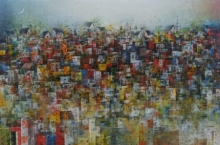 Cityscape Acrylic Art Painting title City Of Dream 7 by artist M Singh