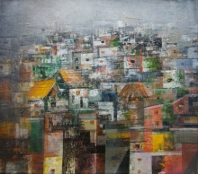 Cityscape Acrylic Art Painting title 'Cityscape 1' by artist M Singh