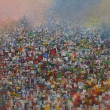 Cityscape Acrylic Art Painting title 'Cityscape 3' by artist M Singh