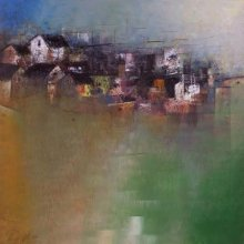 Abstract Acrylic Art Painting title Distant Village View by artist M Singh
