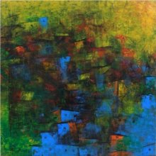 Abstract Acrylic Art Painting title Distant Village View III by artist M Singh