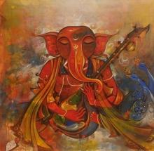 art, painting, acrylic, canvas, religious, ganesha